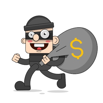 Słodka postać złodzieja. ilustracja kreskówka wektor bandyta z torbą. rabuś w masce