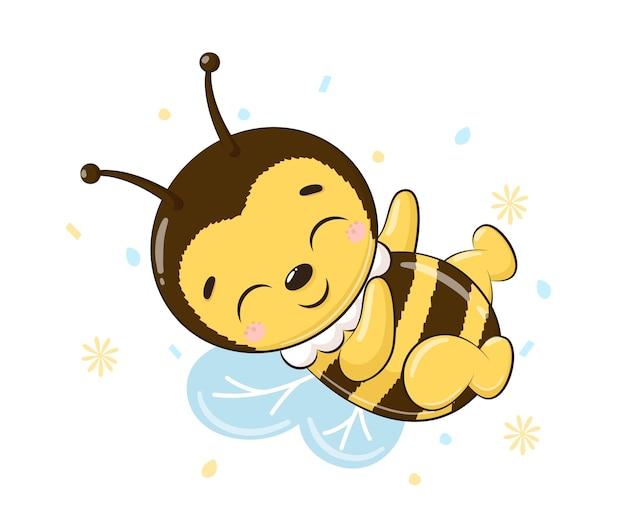 Słodka pszczoła dobrze się bawi.kreskówka