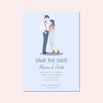 Słodka romantyczna para postać ilustracja zaproszenie na ślub zapisz data
