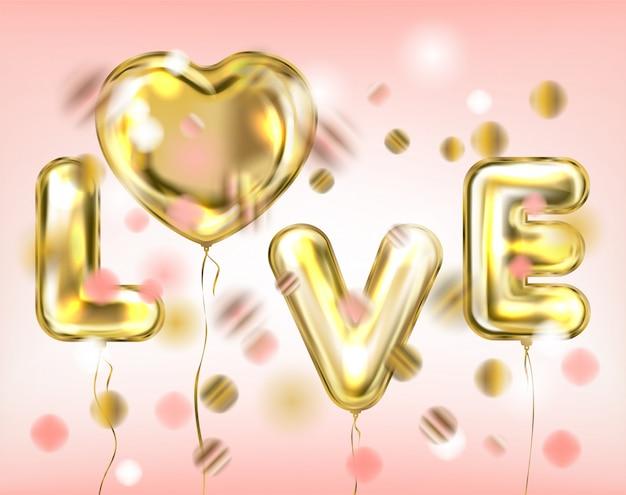 Słodka różowa miłość napis przez złote balony foliowe