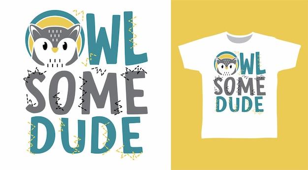 Słodka sowa, jakaś koncepcja projektowania koszulki typografii