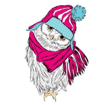 Słodka sowa w świątecznych ubraniach nowy rok