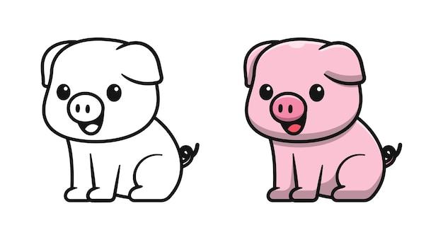 Słodka świnia siedzi kreskówki kolorowanki dla dzieci