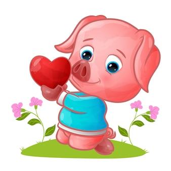 Słodka świnia w swetrze trzymająca kolorowe serce ilustracji