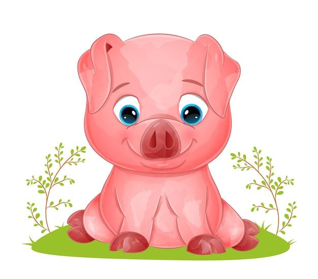 Słodka świnia ze szczęśliwą twarzą siedzi na trawie ilustracji
