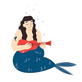 Słodka syrenka gra na ukulele plus size syrenka body pozytywne płaska ilustracja wektorowa