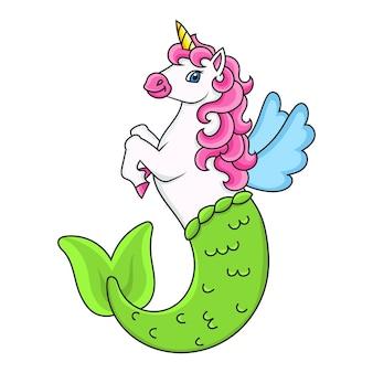 Słodka syrenka jednorożec magiczny bajkowy koń