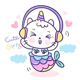 Słodka syrenka kot jednorożca słuchać muzyki