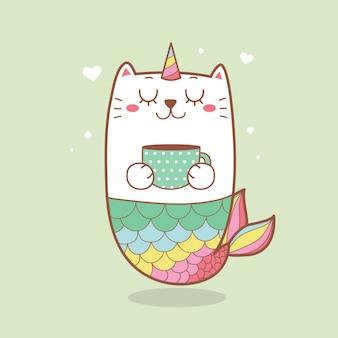 Słodka syrenka kot trzyma filiżankę kawy w pastelowym kolorze.