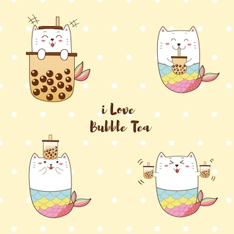 Słodka syrenka kota z herbatą mleczną