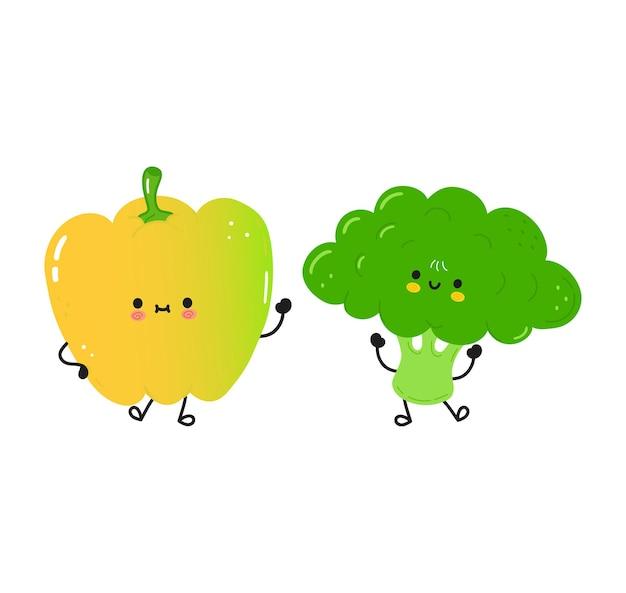 Słodka szczęśliwa papryka i brokuły