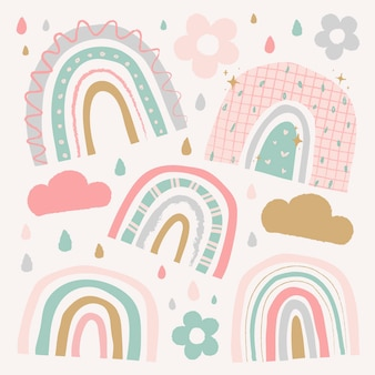 Słodka tęcza w zestawie wektorowym w stylu doodle