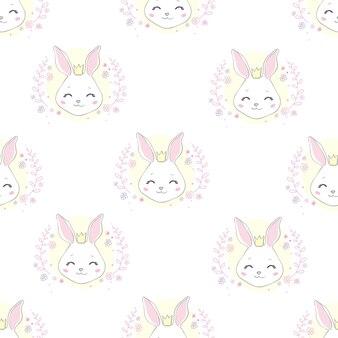 Słodka twarz królika. bez szwu tapety