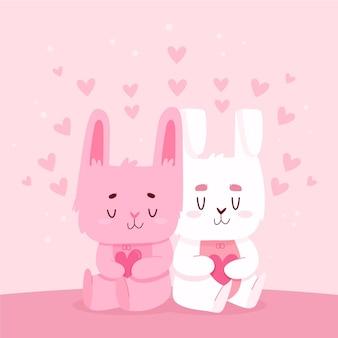 Słodka walentynkowa para króliczków