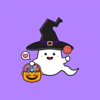 Słodka wiedźma duch trzyma wiadro z dyni wypełnione cukierkami ikona ilustracja kreskówka