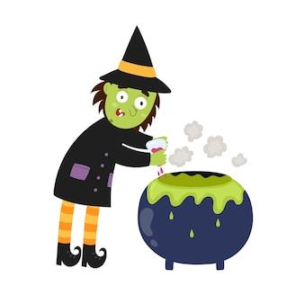 Słodka wiedźma warzy miksturę w kociołku element na białym tle halloween gotująca wiedźma