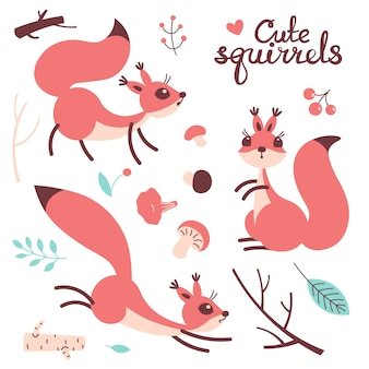 Słodka wiewiórka kreskówka. małe śmieszne wiewiórki. ilustracja