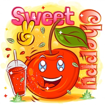 Słodka wiśnia ze szklanką soku