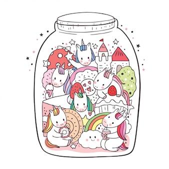 Słodka wróżka kreskówka, jednorożec i słodkie doodle w szklanej butelce