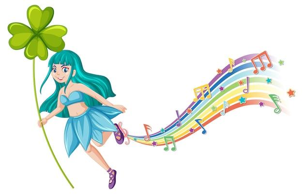 Słodka wróżka postać z kreskówki z falą tęczy melodii