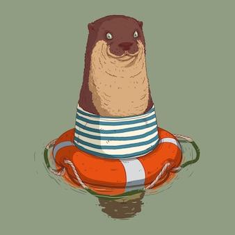 Słodka wydra pływająca z obrońcą życia