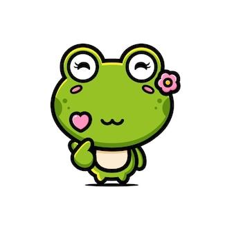 Słodka żaba w stylu palca miłość