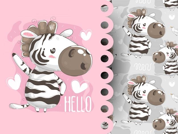 Słodka zebra mówi cześć wzór
