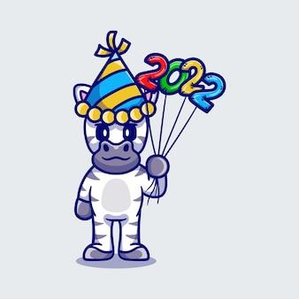 Słodka zebra świętująca nowy rok z balonami 2022
