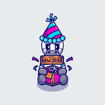 Słodka zebra świętuje nowy rok z pudełkiem-niespodzianką!