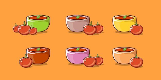 Słodka zupa pomidorowa z miską i pomidorem