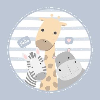Słodka żyrafa hipopotam i zebra powitanie kreskówka doodle pastelowa dziecinna karta