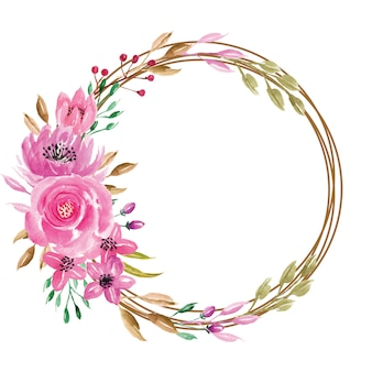 Słodki akwarela kwiatowy różowy wieniec