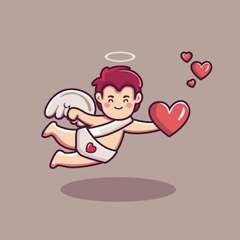 Słodki amorek chłopiec postać trzyma latający balon
