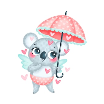 Słodki amorek koala kreskówka na białym tle. walentynkowe zwierzęta.