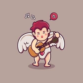 Słodki amorek postać chłopca, gra na gitarze i śpiewa