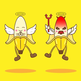 Słodki anioł i diabeł banana