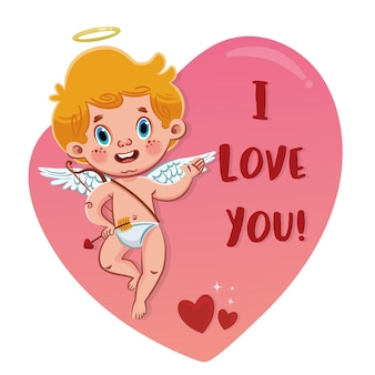 """Słodki aniołek kupidyna z napisem """"kocham cię"""" na romantycznym różowym kształcie serca karta walentynkowa"""