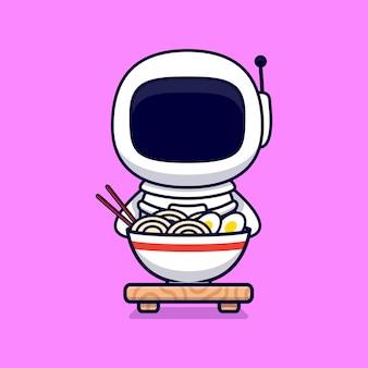 Słodki astronauta eatiang ramen noodle cartoon. płaski styl kreskówki