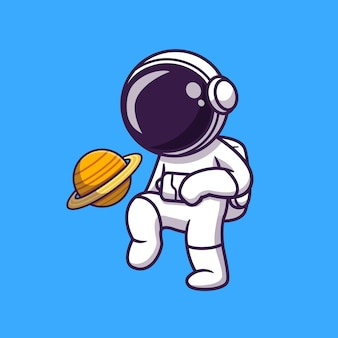 Słodki astronauta grający w piłkę nożną planeta ilustracja kreskówka
