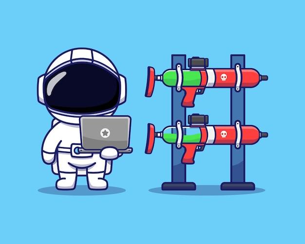 Słodki astronauta korzystający z laptopa i sprawdzający broń