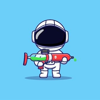 Słodki astronauta niosący broń