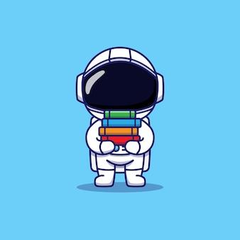Słodki astronauta niosący kilka książek