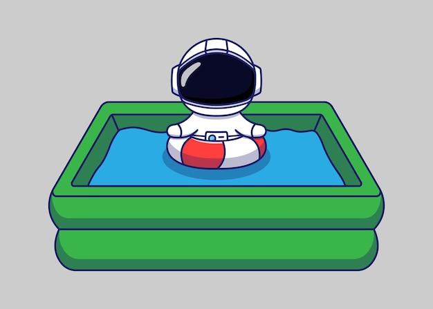 Słodki astronauta pływający latem