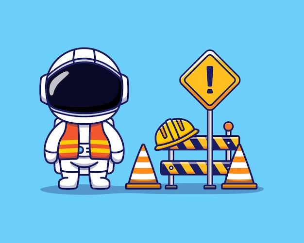 Słodki astronauta pracuje jako robotnik budowlany