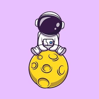 Słodki astronauta siedzący na ilustracji kreskówki księżyca