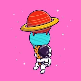 Słodki astronauta trzymający ilustrację planety z lodami