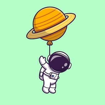 Słodki astronauta unosi się z balonem planety w kosmosie
