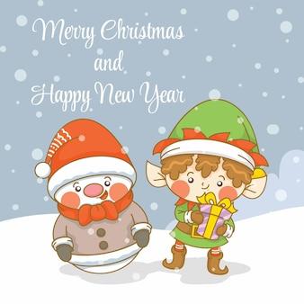 Słodki bałwan i elf z banerem powitalnym świąt i nowego roku