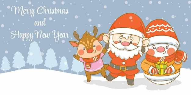 Słodki bałwan świętego mikołaja i jeleń z banerem z życzeniami bożonarodzeniowymi i noworocznymi