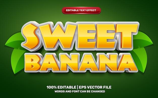 Słodki banan komiksowy styl 3d edytowalny efekt tekstowy